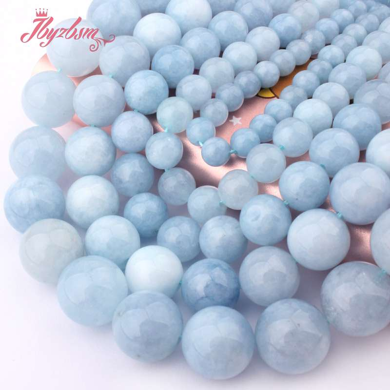 6.8.10.12.14mm Smooth Round Aquamarines Jades Stone Spacer Loose Bead 15 For Necklace Bracelet DIY Jewelry Making Free Shipping