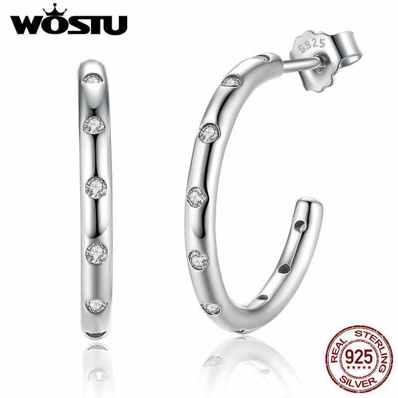 WOSTU, Настоящее серебро 100% 925 пробы, прозрачный циркон, круглый крючок, серьги-гвоздики, минималистичные для женщин, свадебные ювелирные изделия FIE041