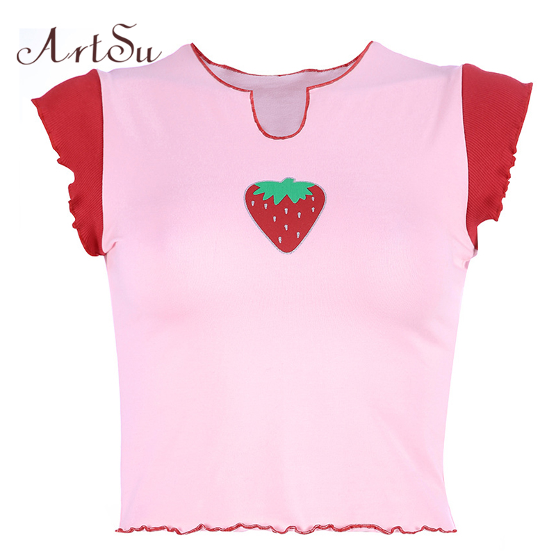 ArtSu Kawaii Strawberry Pink Top Casual Short Sleeve Funny Tshirt Women Tee Shirt Femme Crop Top 2020 Summer T-shirt ASTS20736