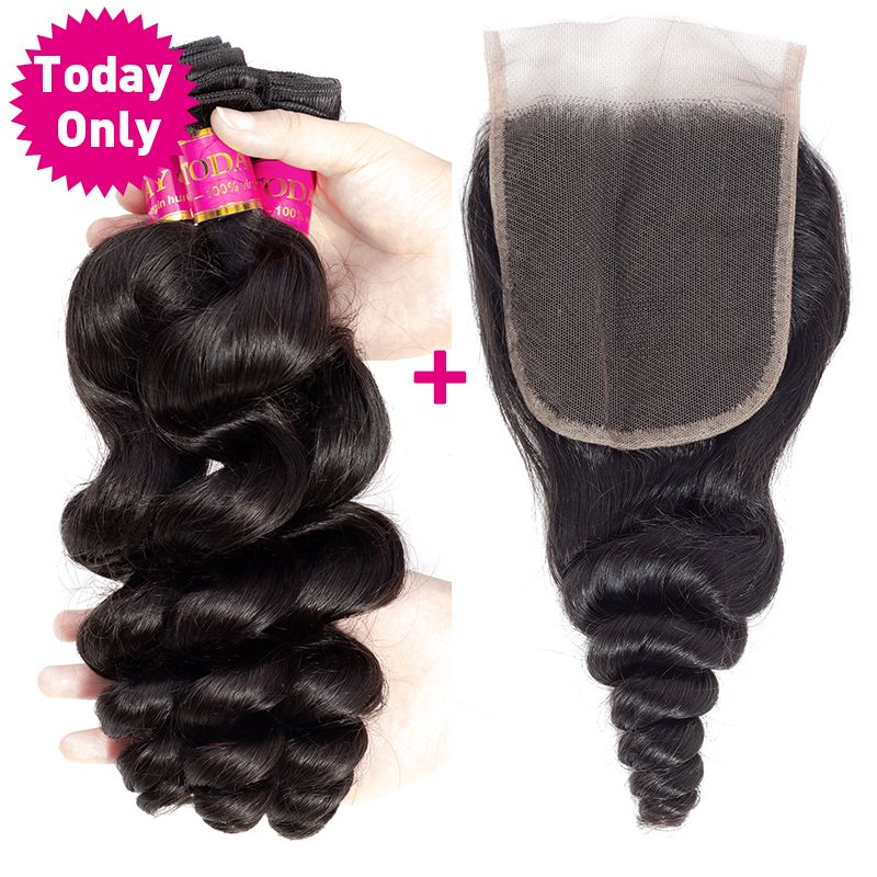 TODAY ONLY Brazilian Loose Wave Bundles With Closure Remy Hair 3 Bundles With Closure Brazilian Hair