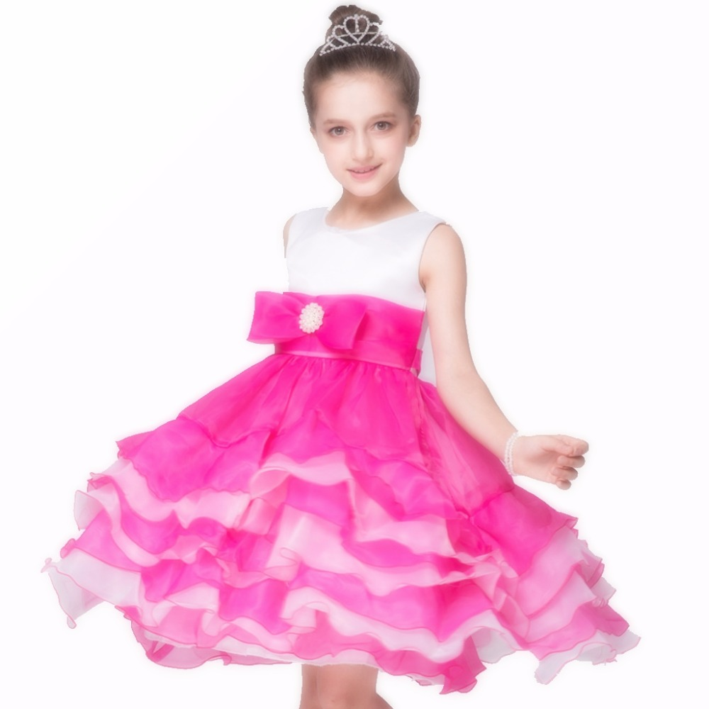 Kids Girl Layered Dress Summer Girls Chiffon Ball Gown Wedding Party Prom Holiday Princess Dresses Sleeveless Clothing 3-10 kids girls bridesmaid wedding toddler baby girl princess dress sleeveless sequin flower prom party ball gown formal party xd24 c