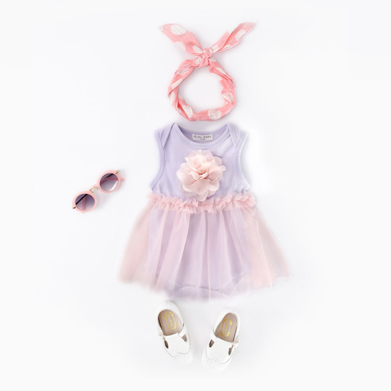 Age0-24m One Piece Yarn Sleeveless Princess Rompers Cute Summer Newborn Baby Kids Girls Angel Flower Jumpsuit Bubble Outfit KU31