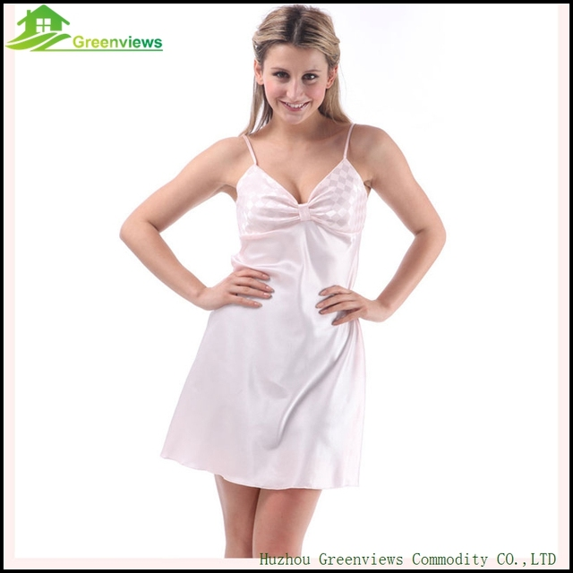 Summer Simple Home Dress Woman Seductive Sleepwear Sexy Dress Solid Slik  Nightwear With Bow One Size cc12756af
