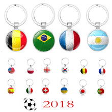 24 Styles World Football Match National Flag Football Keychain Toy Soccer Club Fans Keyring Souvenir Gift 2018(China)