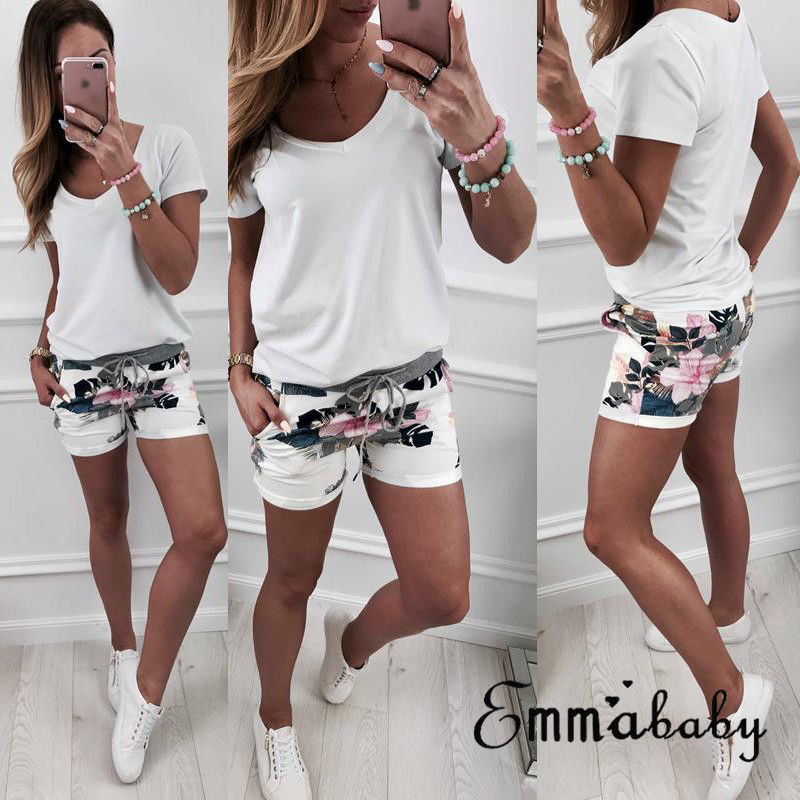 2019 Brand New Women Hot Shorts Summer Casual Floral Loose Shorts Lady Fashion Bow Beach High Waist Short Trousers Dropshipping