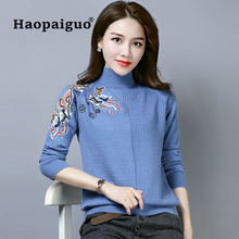 Autumn Winter Embroidery Women Sweater High Elastic Solid Turtleneck Slim Printing Knitted Pullovers Plus Size