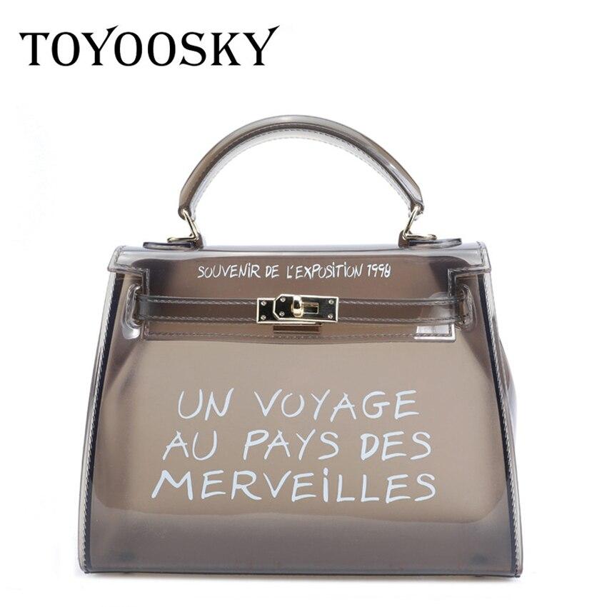 8bd81d4170c3 TOYOOSKY Clear Transparent PVC Shoulder Bags Women Candy Color Jelly Bag  Purse Solid Color Handbags Large