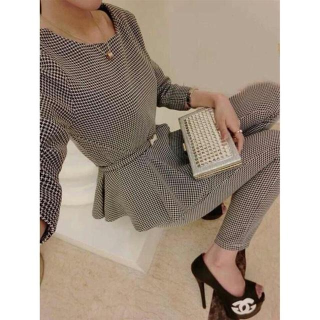 Newest 2016 Autumn Women Casual Suits Three quarter Sleeve O-neck Houndstooth Pattenr Pullover