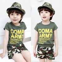 Atrakcje dla chłopców odzież 2017 new arrival baby boy letnie ubrania zestawy list wydrukowano z krótkim rękawem t shirt + armii zielone spodenki 2-7 t