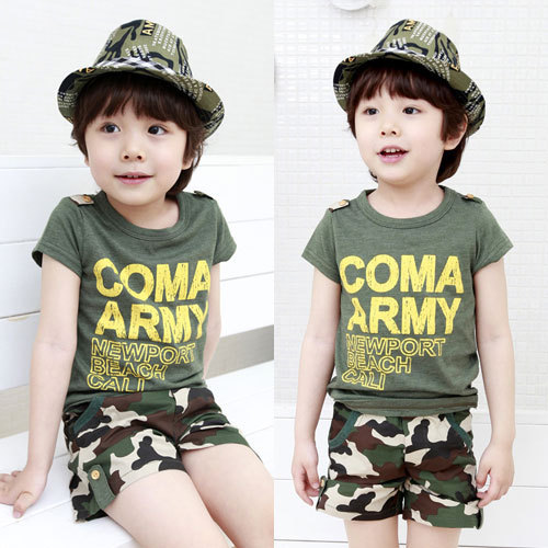 kids boys clothing 2017 new arrival baby boy summer clothes sets letter printed short-sleeve t shirt +army green shorts 2-7T