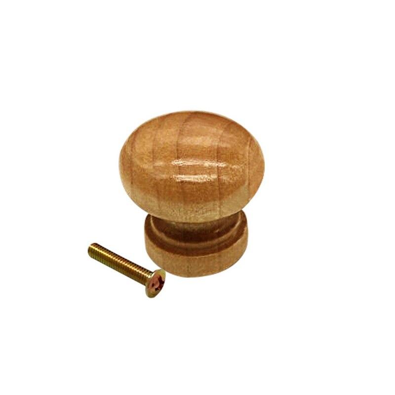 Urijk 10 шт./упак. ручками натуральный деревянный шкаф с выдвижными ящиками шкаф-купе ручки двери Кухня Ручка мебельная фурнитура гриб мяч - Цвет: Wood With Screw