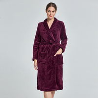 Winter solid bathrobe women mid length lounge wear bath robe warm robe femme