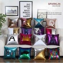 цены на ZhiHong Reversible Two-tone Glitter Mermaid DIY Sequins Cushion Throw Pillow Cushion Pillowcase Car Home Sofa Decoration  в интернет-магазинах