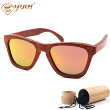 High fashion wooden sunglasses handmade red frame polarized wood sun glasses REVO mirror driving glasses for men women W009