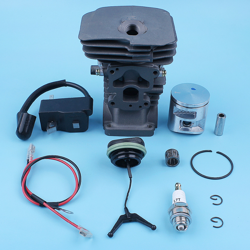 41mm Cylinder Piston Nikasil Ignition Coil Module Bearing Kit For <font><b>Husqvarna</b></font> 135 <font><b>140</b></font> 135e 140e Chainsaw Gas Fuel Cap Needle Cage image
