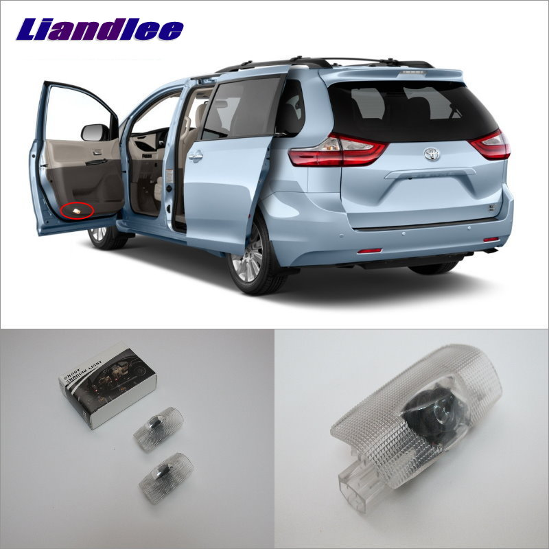 Liandlee Car Door Ghost Shadow Lights For Toyota Sienna 2011~2014 Courtesy Doors Lamp / Brand Logo LED Projector Welcome Light