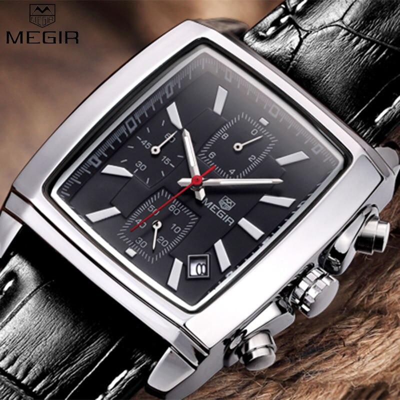 Megir 2018 Элитный бренд Мужская Мода прямоугольник смотреть уникальной гравировкой циферблат военные спортивные часы Relogio masculino esportivo