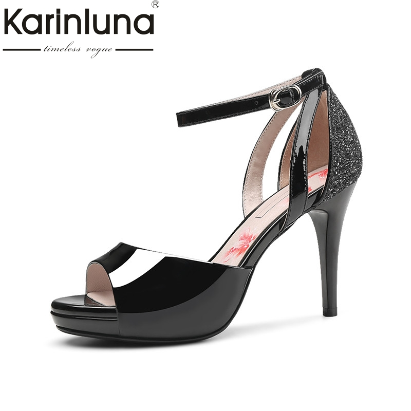 Karinluna 2018 Summer Patent Cow Leather Sandals High Heels Glitters Party Wedding Shoes Woman Big Size 33-40 Platform Shoe phyanic wedges gladiator sandals 2017 new bling glitters high heels summer platform shoes woman casual creepers xdy8006