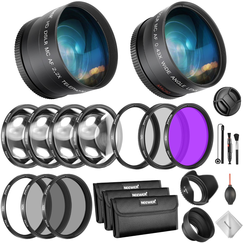Neewer 58mm Lens and Filter Bundle: Wide Angle Lens, Telephoto Lens and Filter Set (Macro, ND, UV, CPL, FLD) for Canon EOS RebelNeewer 58mm Lens and Filter Bundle: Wide Angle Lens, Telephoto Lens and Filter Set (Macro, ND, UV, CPL, FLD) for Canon EOS Rebel