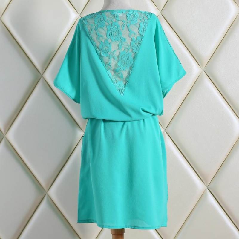 3a850413b8ab0 Plus Size 5XL Summer Women Ladies Casual Dress Short Sleeve Back Lace Dress  Floral Chiffon Mini Dress T55-in Dresses from Women's Clothing & ...