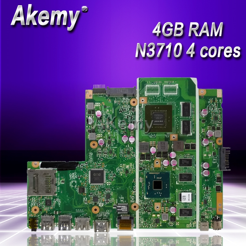 Akemy X541SC N3710 CPU 4GB RAM N15V GL1 KB A2 mainboard REV 2.0 For ASUS X541S X541SC laptop motherboard 90NB0C10 R00010