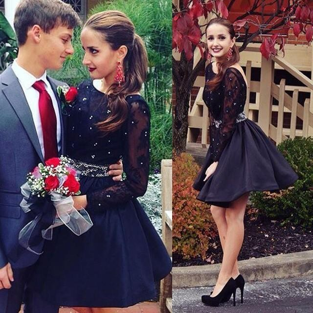 2019 Romantic Black Long Sleeves Ball Gown Homecoming Dresses Scoop Neck Sheer Open Back Beading Graduation Dress