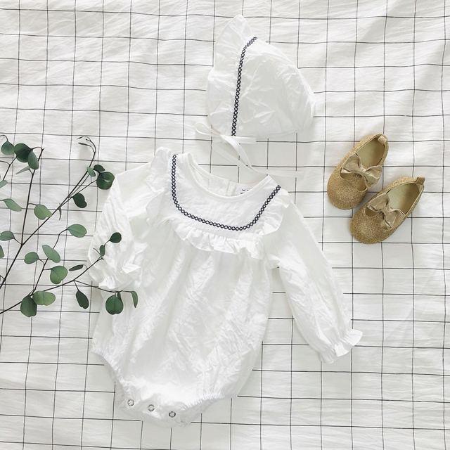 Ins envio Han Guochun parágrafo meninas do bebê romper do bebê Macacão em 100 bordado chapéu dois terno