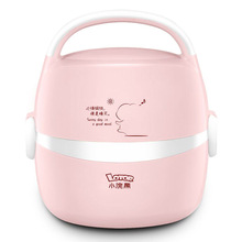 Portable Heating Lunch Box mini Electric Rice Cooker 2 Layers Steamer Meal Thermal Stainless Steel Food Container Warmer 220 цена и фото