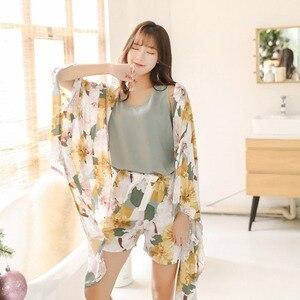 Image 2 - 春秋の女性パジャマ服 4 ピースセット女性のパジャマは nightsuit パジャマセットレジャー花 pijamas ホームウェア