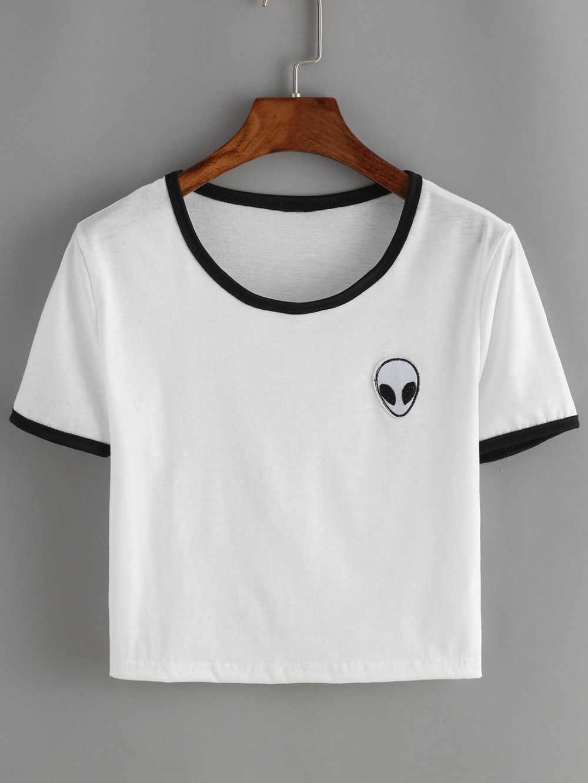 aaedbccb35a7 Бесплатная доставка 2018 летний топ Женская футболка короткая инопланетная  НЛО ...