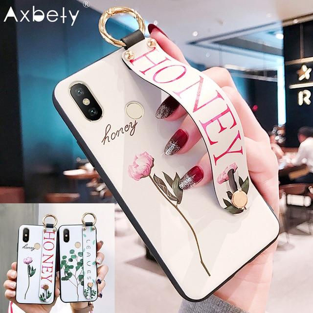 AXBETY עבור redmi note 5 פרו/6X/A2/mi 8/5 בתוספת/s2/y2 אופנה פרח עלה שרוך טלפון Stand מקרה עבור xiaomi a2 לייט redmi 6 פרו