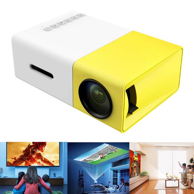 Portátil Mini Proyector Full HD 320x240 de Vídeo Multimedia Home Cinema Teatro LED Proyector de la Ayuda USB/SD/AV/HDMI de Entrada