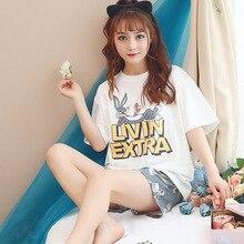 Summer 2019 women Pajamas Cute Cartoon Bunny Print Round Neck T-Shirt Shorts pijama mujer verano Kawaii pajama set pizama damska