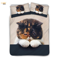 HUGSIDEA Cute Sorry Cat 3D Print Duvet Cover with Pillowcases Fashion Home Textile Cartoon Bedding Set for Kids Girls Bedclothes