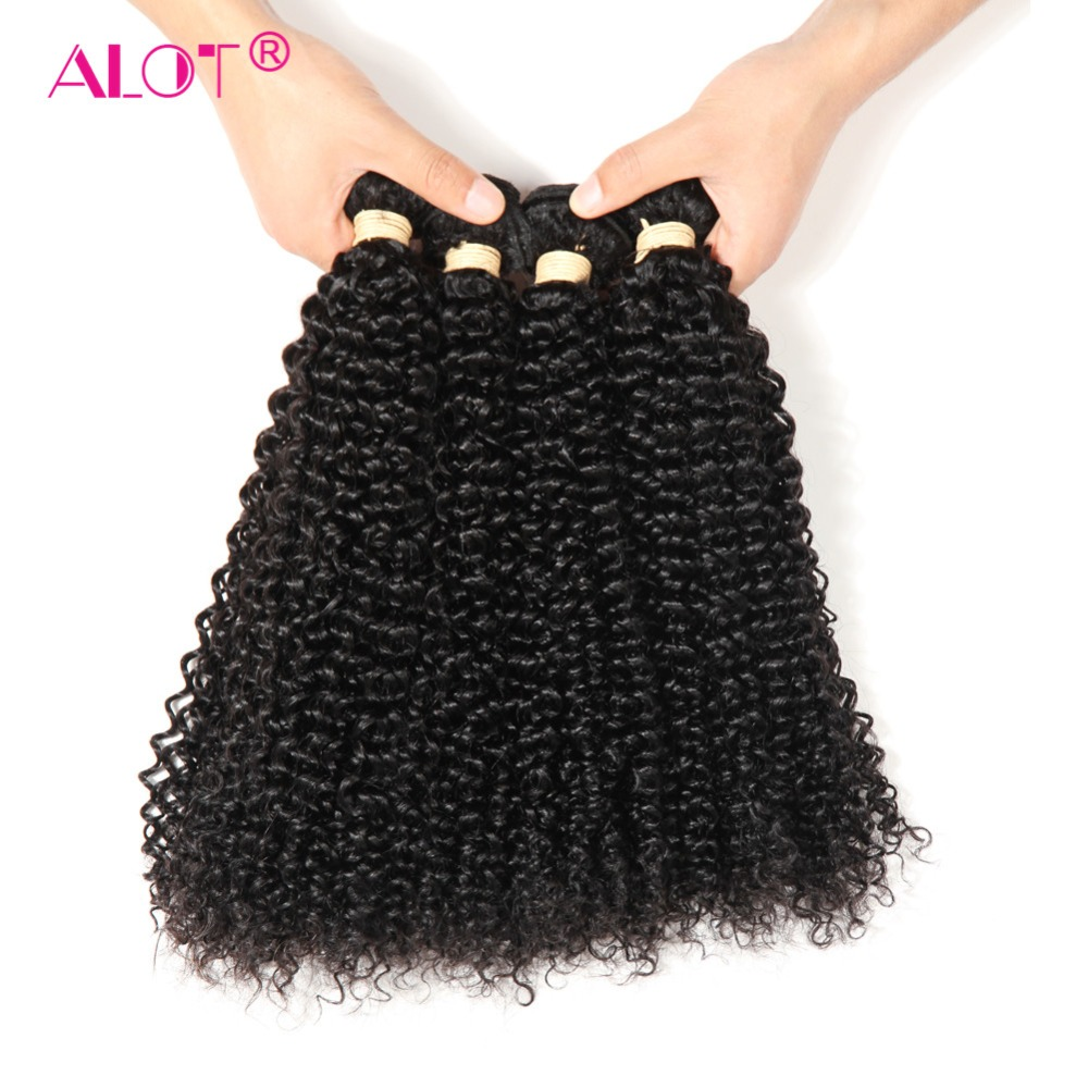 Alot Brazilian Kinky Curly Human Hair 3/4 Bundles Hair Weaving Non Remy Machine Double Weft Hair Extensions