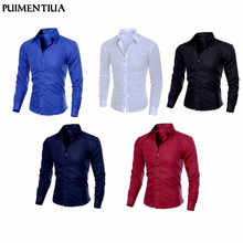 Puimentiua Spring Autumn Men's Slim Fit Long Sleeve Dark Solid Color Lapel Top Large Size S