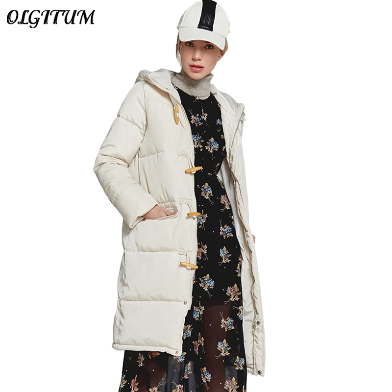 New Brand Cotton Coat 2019 Winter Women Long Hooded Outwear Thicken Warm   Parka   Fashion Horn Buckle Design Loose Snow Wear Jacket