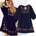 2017 nuevas llegadas étnico más tamaño flores bordado mini vestido de una sola pieza dress para las mujeres niñas vintage boho blusa vestido