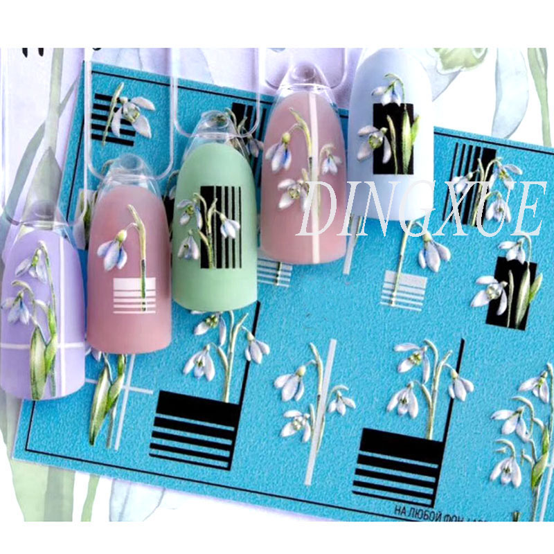 1pc 3D Acrylic Engraved Flower Nail Sticker Embossed Black Line With Flower Water Decals Empaistic Nail Water Slide Decals Z0105