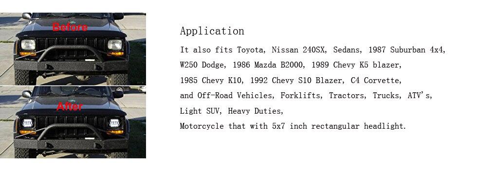 7x6 Led Headlights H4 Replaces H6054 H5054 H6054LL 69822 Sealed Beam  Headlamp for Jeep YJ XJ MJ GMC Chevrolet 2Pcs/Pair