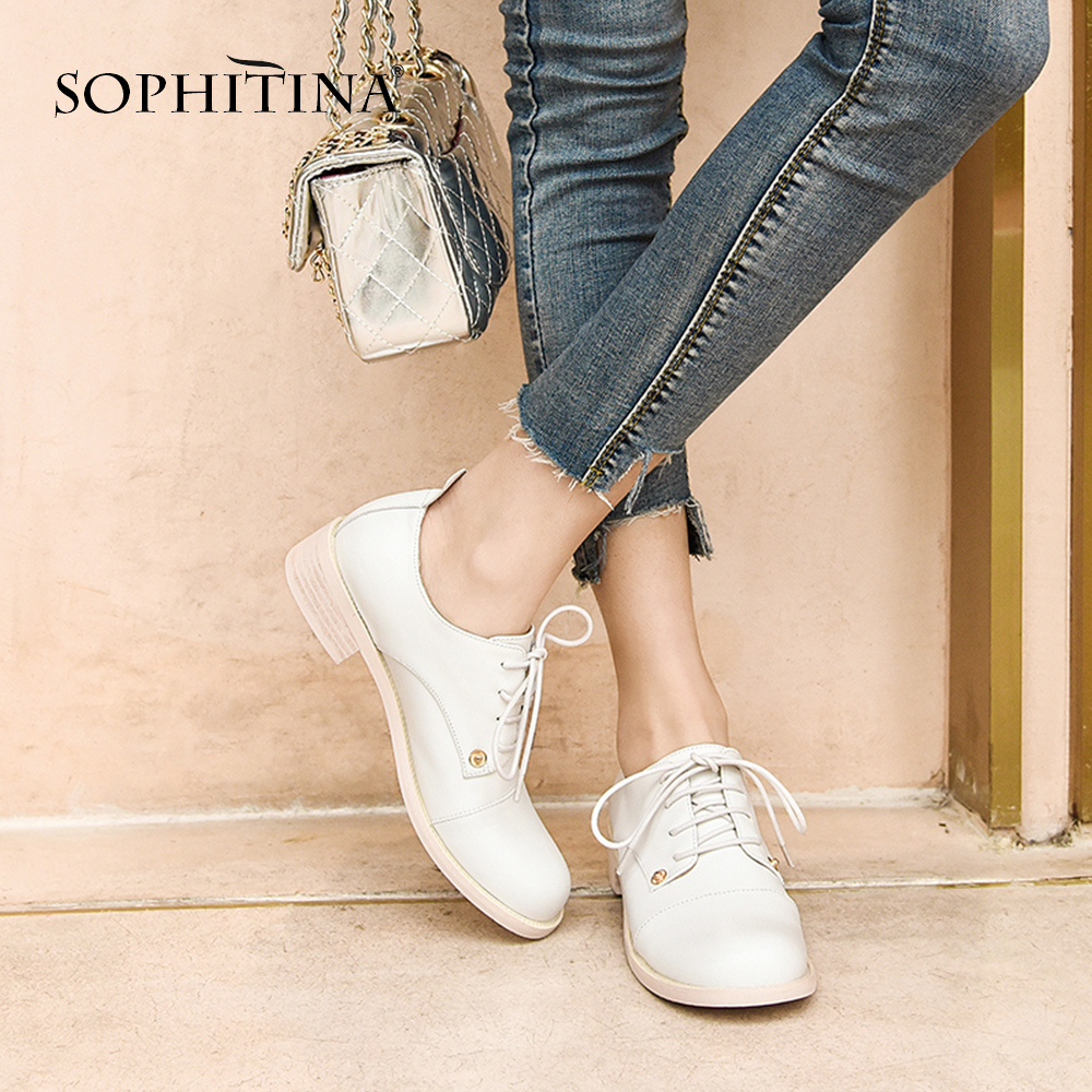 SOPHITINA Various Colors Women s Pumps Leisure Lace Up Genuine Leather Cross Tied Shoes Med Square