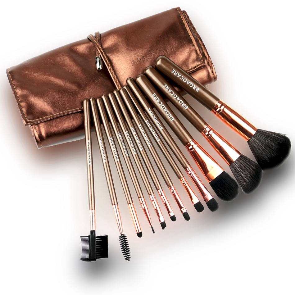 BROADCARE 12pcs/lot Makeup Brushes Set Professional Makeup Tool Cosmetic Kit Blush Eyeliner Face Powder Brush with Leather Case
