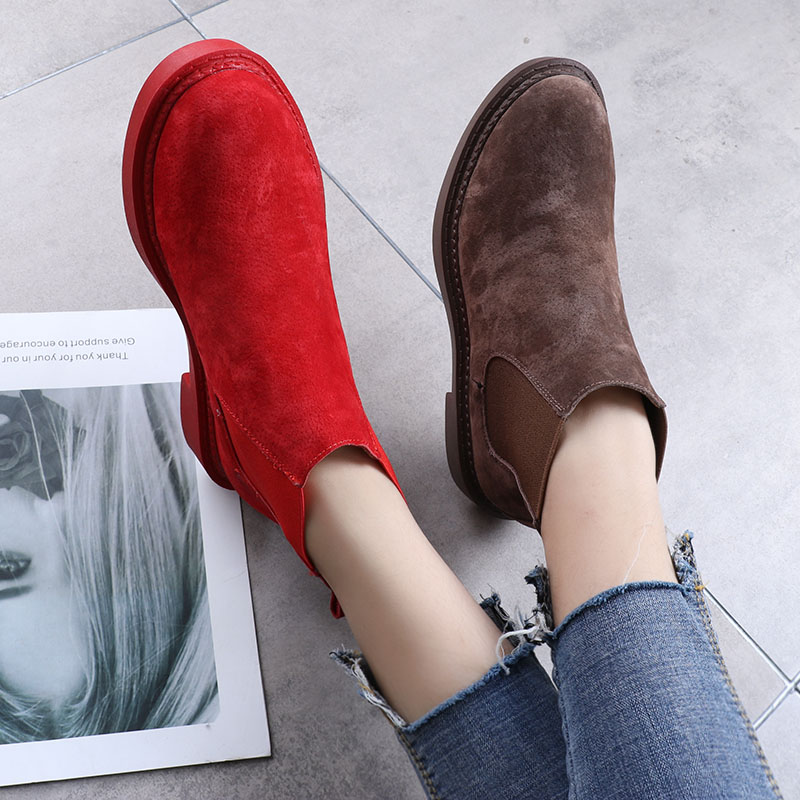 Mode brown Chelsea khaki blue Cuir Couleurs 7 En red Black Bonbons Chaussures rose Véritable Preppy Style Femmes Occasionnels gray Plats De Red Printemps Talons Givré Bottes qwRIw1z