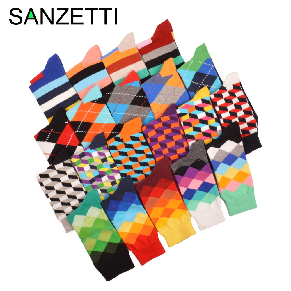 SANZETTI 5 Pair/lot Luxury Men Socks Bright Colorful Combed Cotton Socks Funny Argyle Pattern Casual Dress Socks Wedding Gift