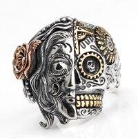 Punk Two Face Devil 925 Sterling Silver Ring Evil eyes for Men Skull Vintage Women Men Lovers Jewelry