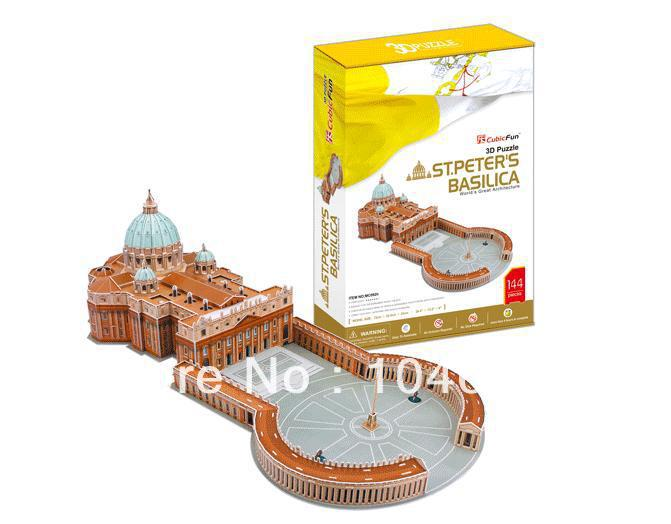St.Peter's Basilica CubicFun 3D educational puzzle Paper & EPS Model Papercraft Home Adornment for christmas birthday gift cubicfun 3d puzzle diy paper model building p615 dollhouse garden villa puzzle 3d handmade lovely toys for kids christmas gifts