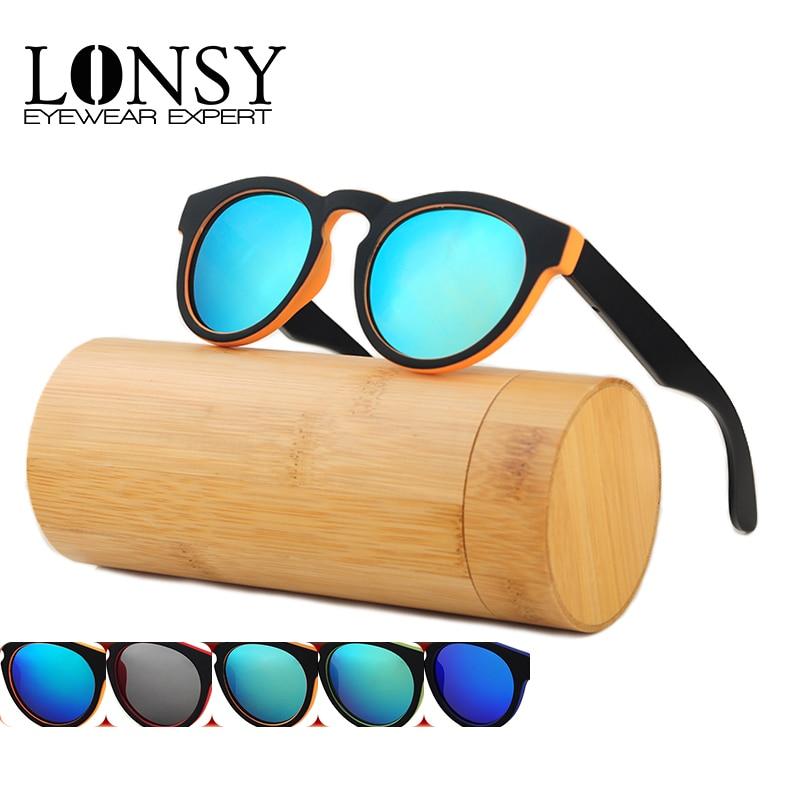 LONSY Handmade Putaran Bambu Sunglasses Wanita Kacamata Kayu Pria - Aksesori pakaian - Foto 6