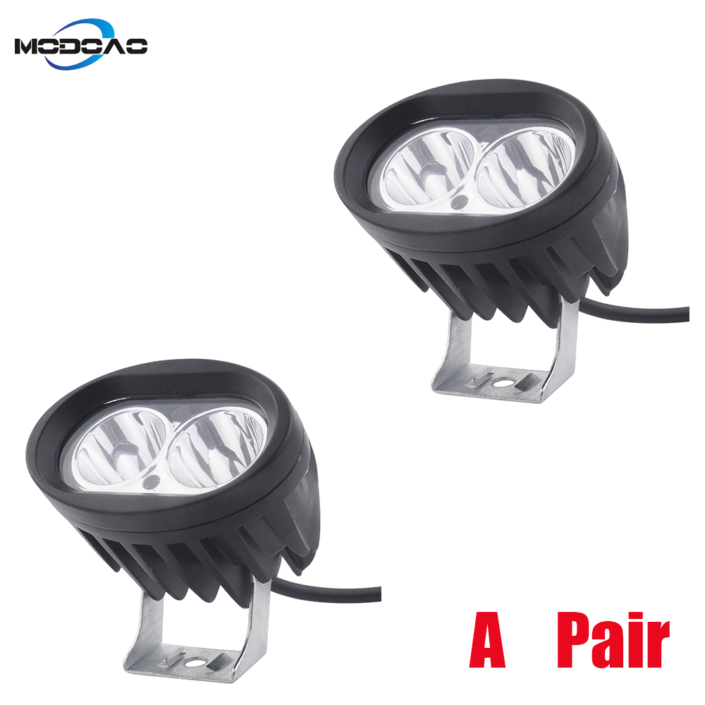 A Pair Super Bright Motorcycle Spot Light LED Headlights Fog Lamp Motorbikes Spotlight 20W Work Lights Headlamp 6500K DC <font><b>12V</b></font> <font><b>80V</b></font> image