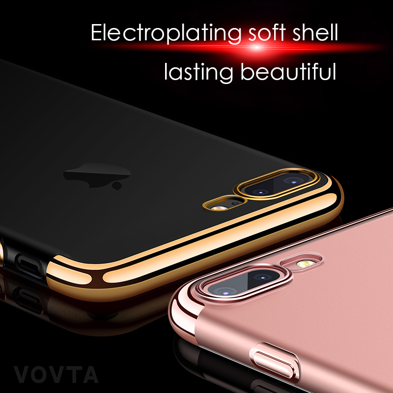VOVTA Luxury Anti-Knock Cases For iPhone 6 8 7 Plus Case Plating Shockproof Full Cover For iphone 7 6s 8 Plus Phone Case