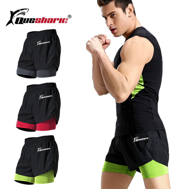 Queshark Quick Dry Running Shorts Anti-sweat Elastic Trainning Fitness Yoga Sports Short Pants Gym Crossfit Sweat Shorts M-4XL